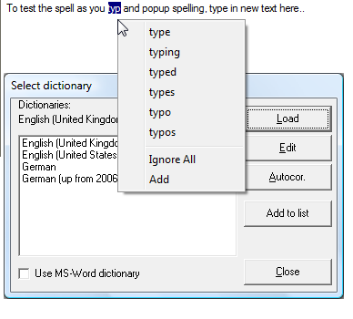 Click to view !JRSpellChecker Activex Control screenshots