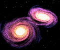 Colliding Galaxies - simulation of interacting galaxies