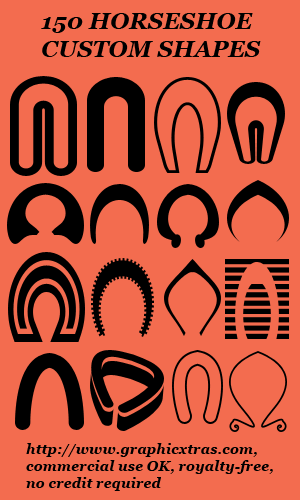 Click to view Custom Shapes Pack 11 Horseshoes for Adobe Photoshop and Elements screenshots