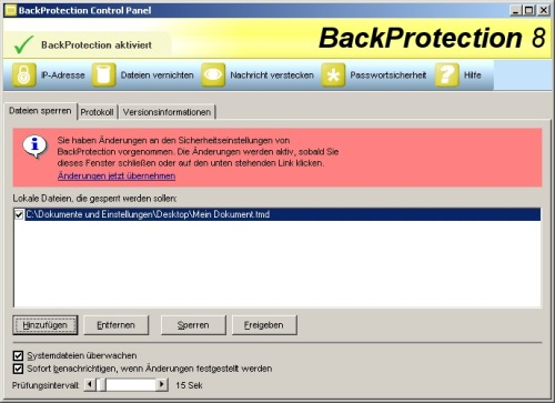 BackProtection 8 Screen shot
