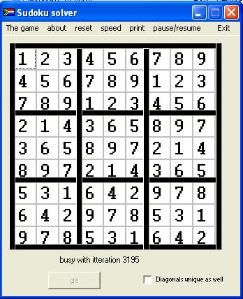 Sudoku 9X9 puzzle solver Screen shot