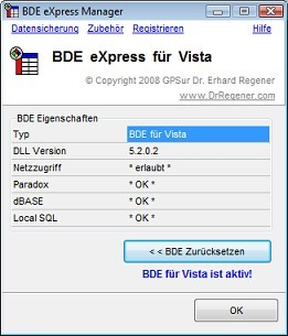 BDE eXpress for Vista -Workstation Licence- Screen shot