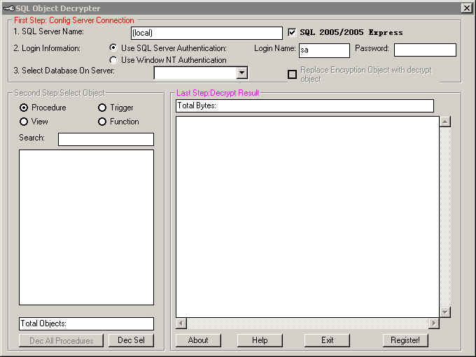 Click to view SQL Object Decrypt (Site License No limit) screenshots