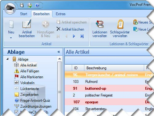 Click to view VocProf Fremdsprachentrainer 3.0 - Standard screenshots