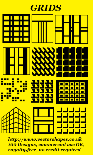 VS: Grids custom shapes for Adobe Photoshop (R) CS6 CS5 CS4 etc (003) and elements - commercial use