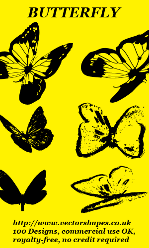 Click to view VS: Butterfly custom shapes for Adobe Photoshop (R) (004) screenshots