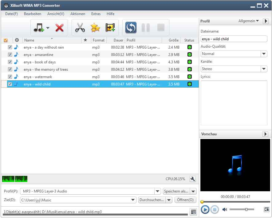 Click to view Xilisoft WMA MP3 Converter 6 screenshots