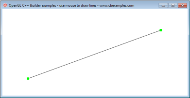 C++ Builder OpenGL mouse line drawing example Screen shot