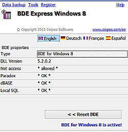 BDE eXpress Windows 8 Upgrade -Workstation Licence- Screen shot